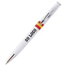 Bolígrafo bandera España blanco personalizado. Modelo 010