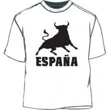 Camiseta España Toro. Blanco-negro