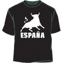 Camiseta España Toro. Negro-blanco