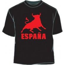 Camiseta España Toro. Negro-rojo